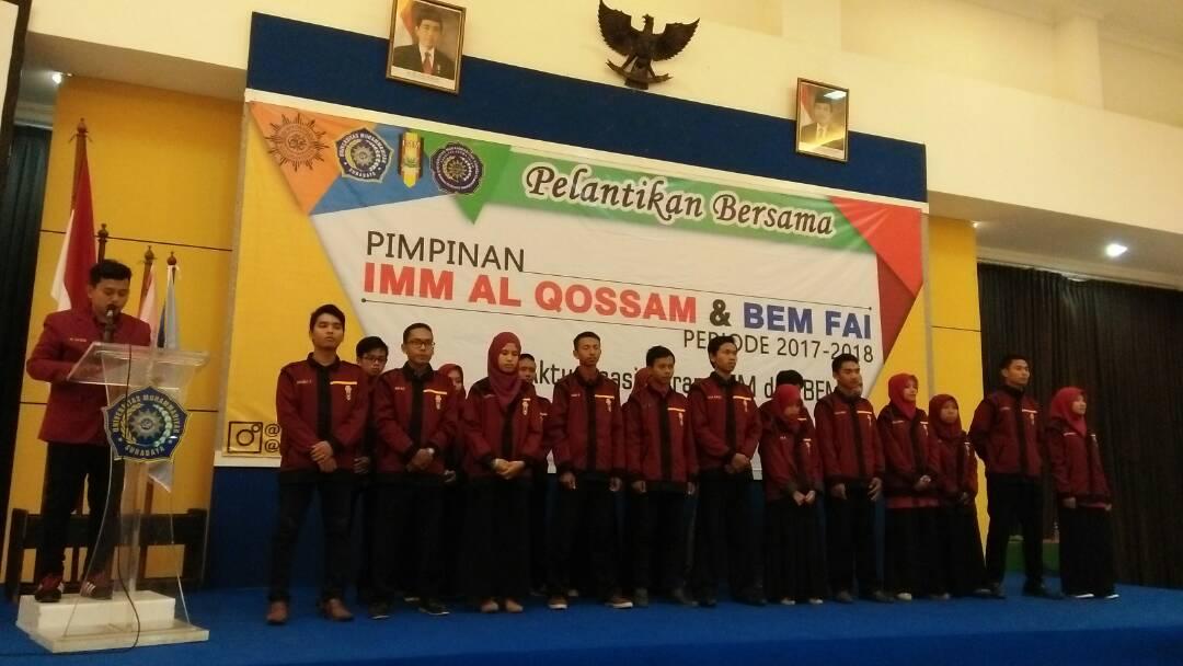 "Pelantikan bersama ""Pimpinan Komisariat Alqossam dan Badan Eksekutif Mahasiswa Fakultas Agama Islam"" Universitas Muhammadiyah Surabaya"